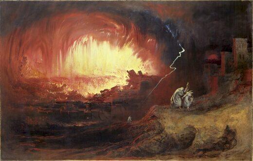 La Destrucción de Sodoma y Gomorra. Óleo sobre lienzo por John Martin. Un posible ejemplo de la conexión entre los 'pecados' y las reacciones cósmicas.
