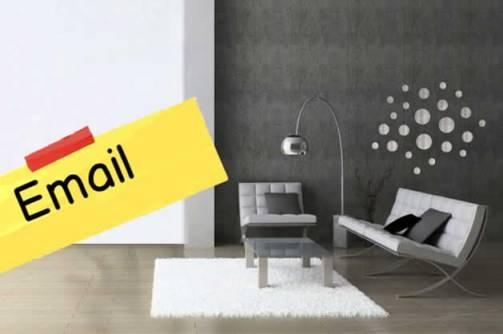 email salon, living room, correo