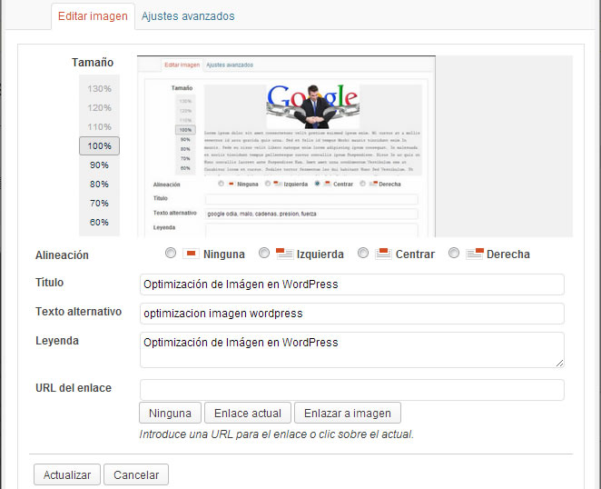 optimizacion imagen wordpress