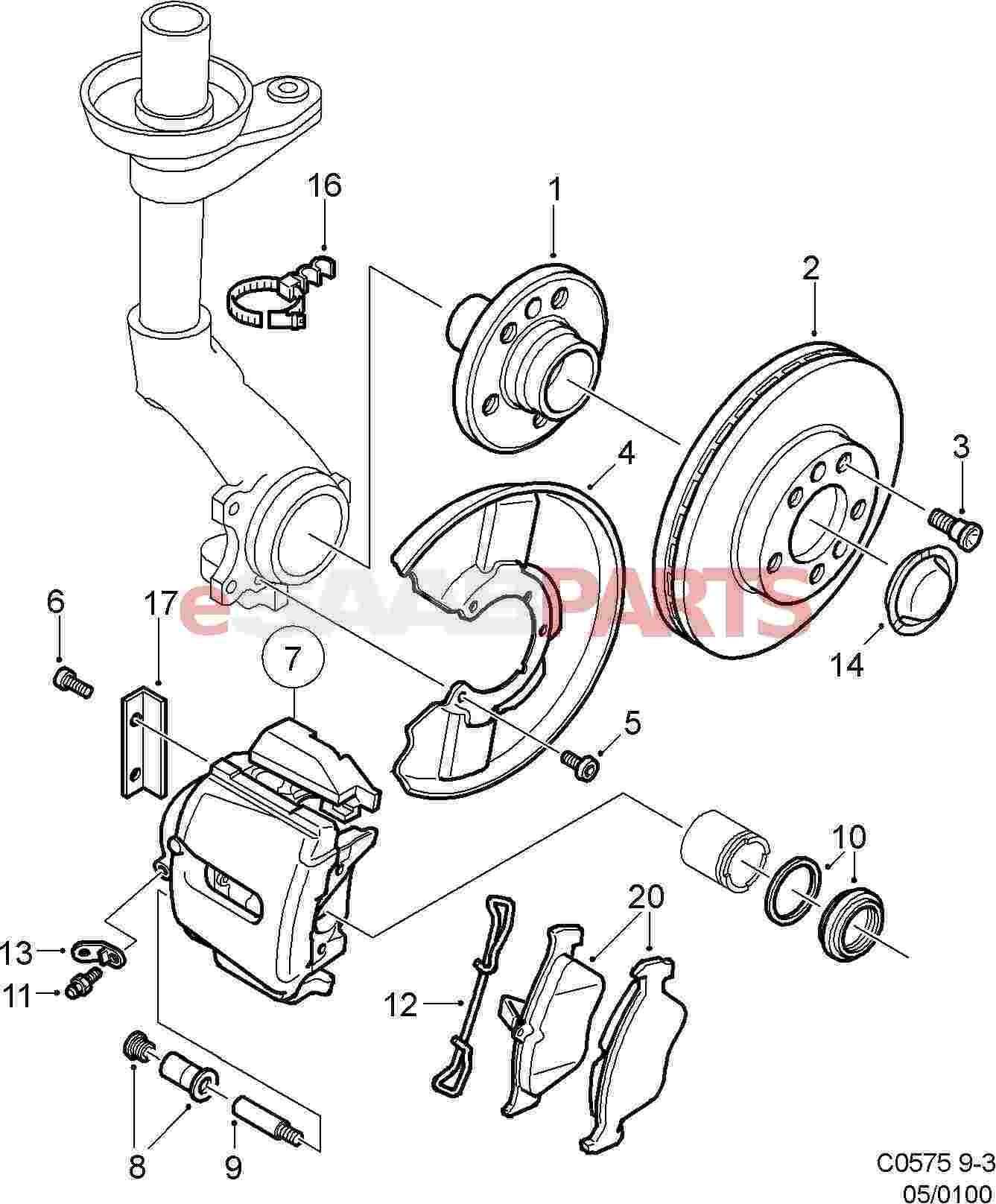 Brake Caliper Parts Diagram : brake, caliper, parts, diagram, ESaabParts.com, (9400), Brakes, Parts, Front, Front:, Brake, Disc/Caliper