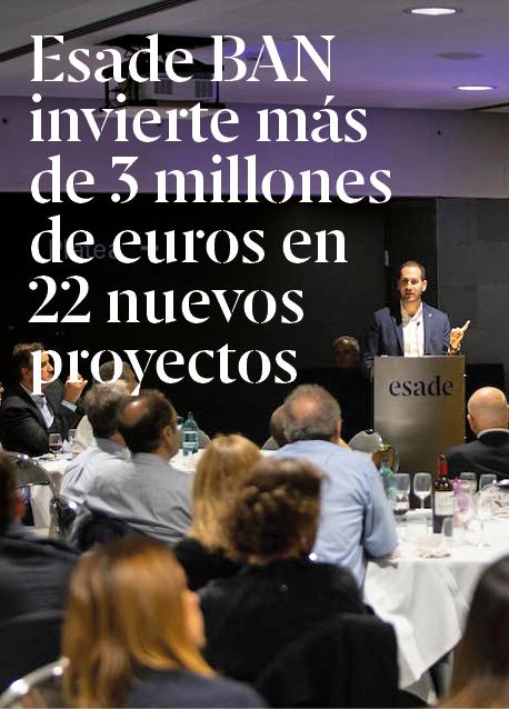Esade BAN invierte más de 3 millones de euros en 22 nuevos proyectos durante el curso 19-20