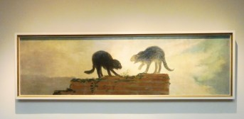 Goya's image of angry cats, painted for the wall over a door. PERFECT!