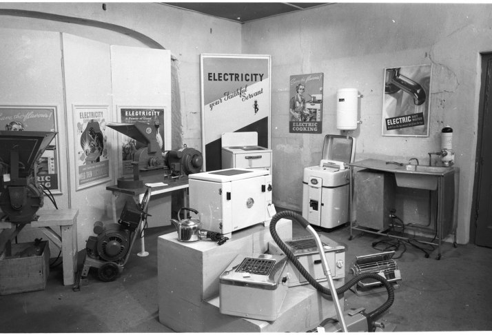 Electrical appliances and machinery on display in the make shift showroom