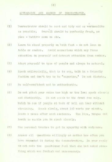 Demonstrator's handbook, c1950s