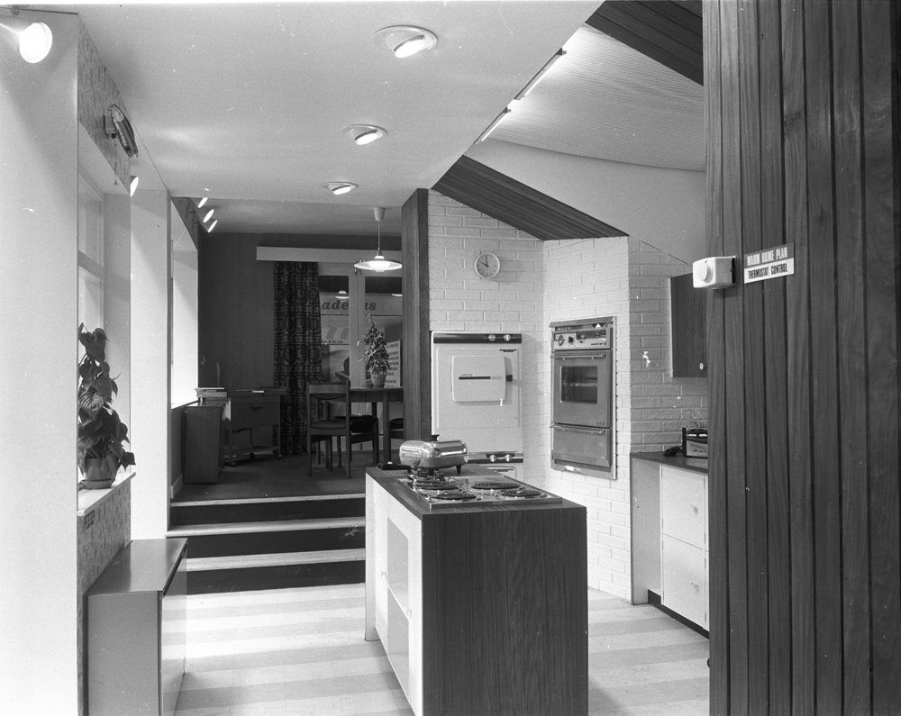 RDS home exhibit, kitchen, 1960s