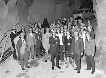 CIGRE visitors at entrance tunnel to generator hall