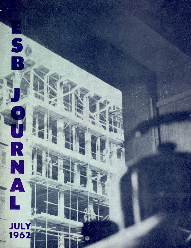 ESB Journal, July 1962. Photo: Prize-winning entry by E O'Neill, Limerick District, highlighting the building boom in Limerick from the window of the ESB showroom.