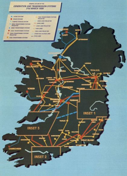 Ireland's Generation and Transmission systems, as of 31 March 1986