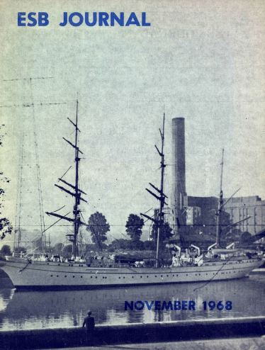 German training ship Gorsh Foch sailing past Marina station in Cork, ESB Journal, 1968