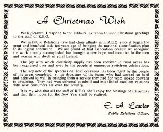 REO News, December 1956, Christmas wish from EA Lawler, Public Relations Officer