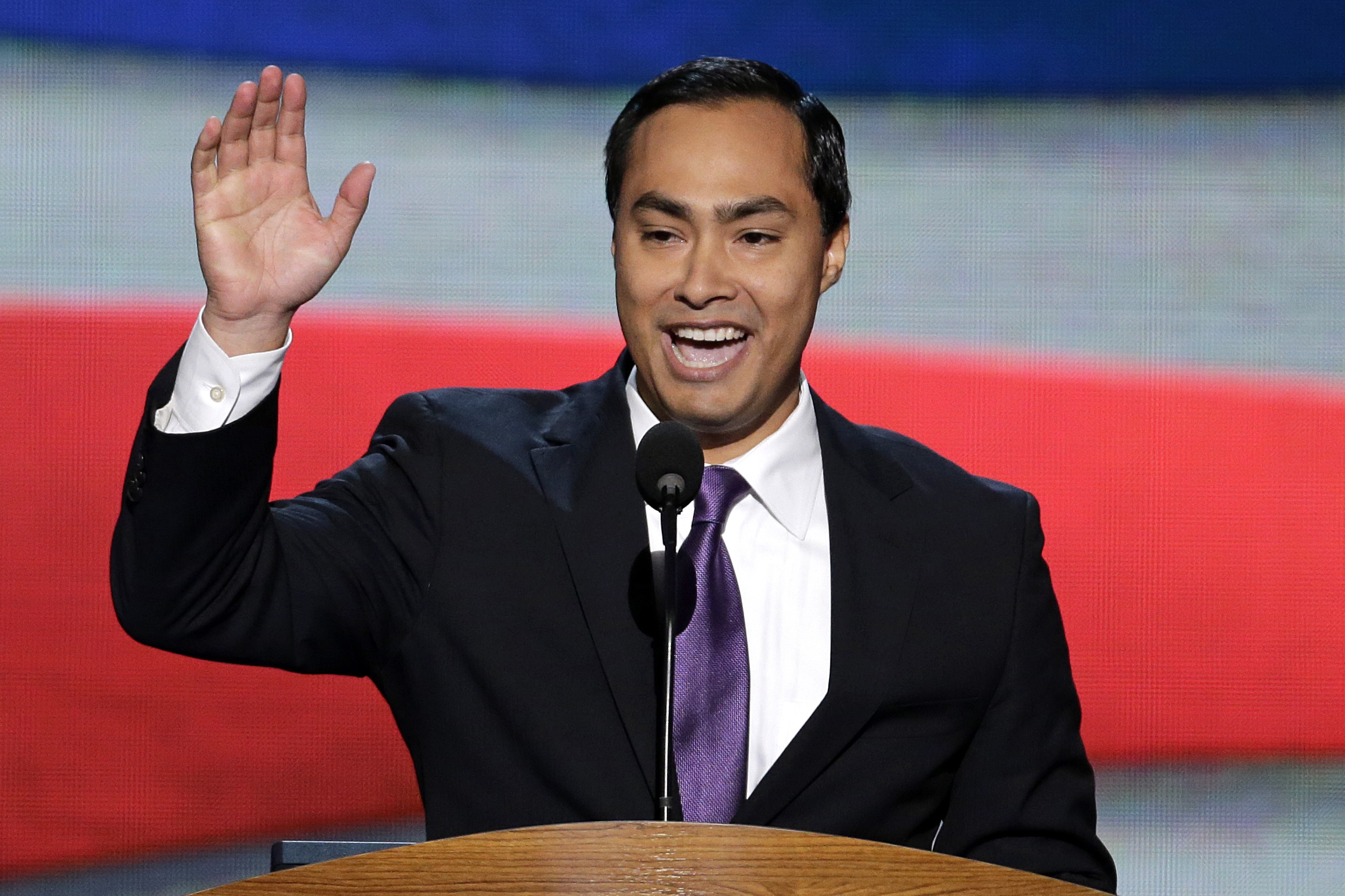 In this Tuesday, Sept. 4, 2012 file photo Joaquin Castro introduces his brother, San Antonio's Mayor Julian Castro to the Democratic National Convention in Charlotte, N.C. (AP Photo/J. Scott Applewhite, File)