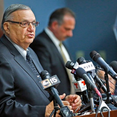 Maricopa County Sheriff Joe Arpaio talks about the findings from a five-year investigation into the authenticity of President Barack Obama's birth certificate during a press conference Thursday, Dec. 15, 2016, in Phoenix. The news conference from the media-savvy sheriff came three weeks before the end of his 24 years as metro Phoenix's top law enforcer and five weeks before Obama leaves office. (AP Photo/Ross D. Franklin)