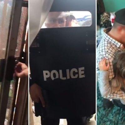 """#QuéPoca: """"La Migra"""" irrumpe en hogar con escudos y encañonando a niños"""
