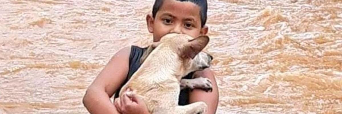 Niño rescata a su perrito de las inundaciones