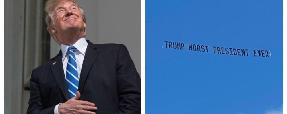"""""""El peor presidente"""", vuelan pancartas cerca de la nueva casa de Trump"""