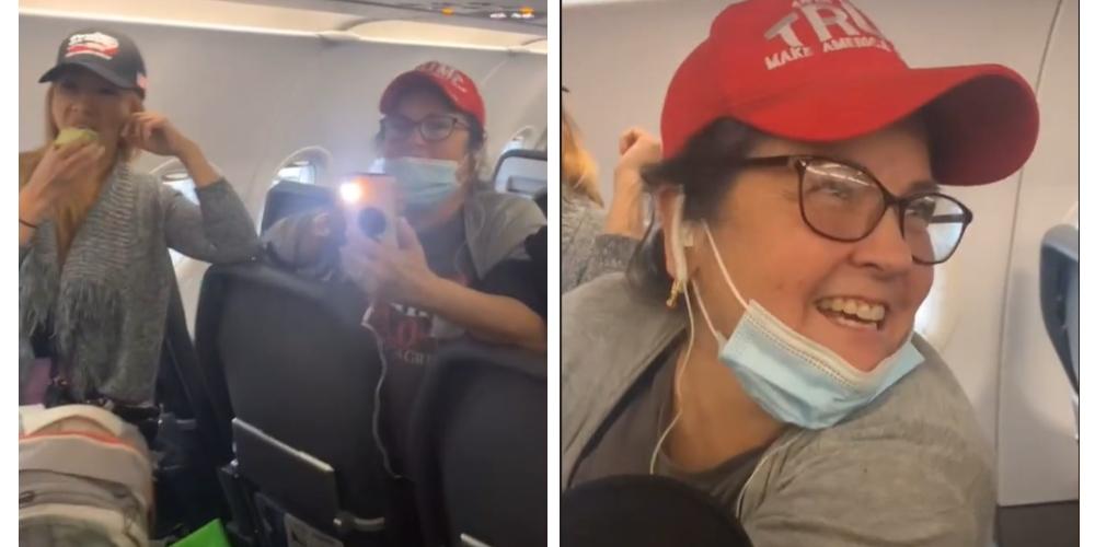 Desalojan avión porque seguidoras de Trump se negaban a usar cubrebocas