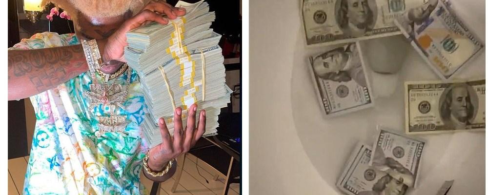 Rapero tira 2 millones de pesos al mar y al inodoro