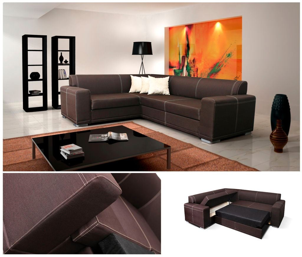 sofa bed suitable for everyday use mid century modern sectional sofas monaco corner faux leather or fabric left