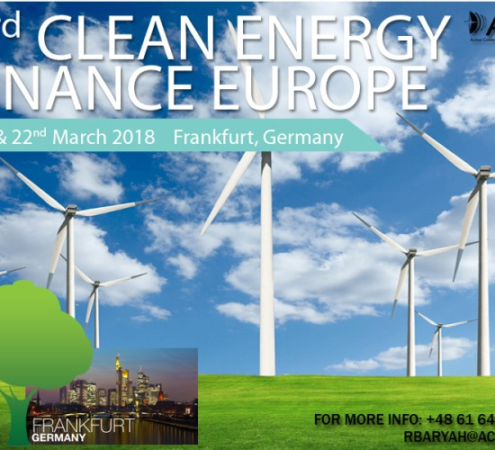 Clean Energy Finance Europe 2018, by ACI, from 21st – 22nd March 2018, Frankfurt, Germany