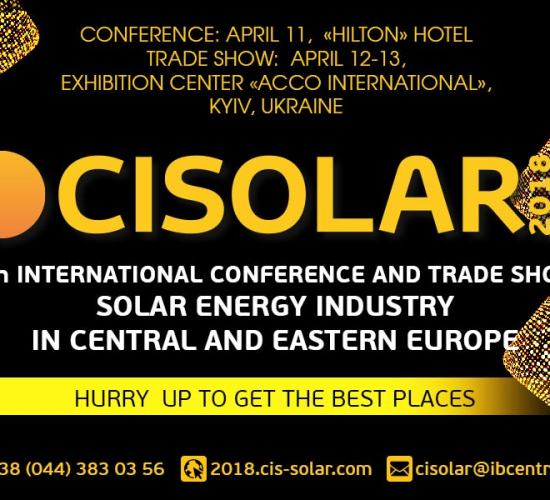 International Solar Energy Conference CISOLAR 2018, ACCO on 11-13 April 2018, Kyiv, Ukraine
