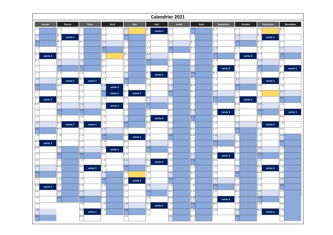 calendrier des cours en soirée 3 pour 2021
