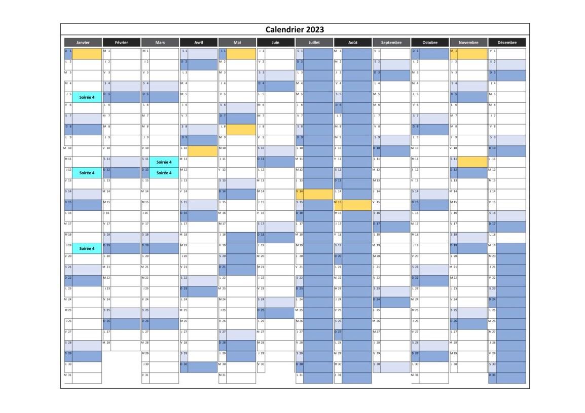 calendrier des cours en soirée 4 pour 2023