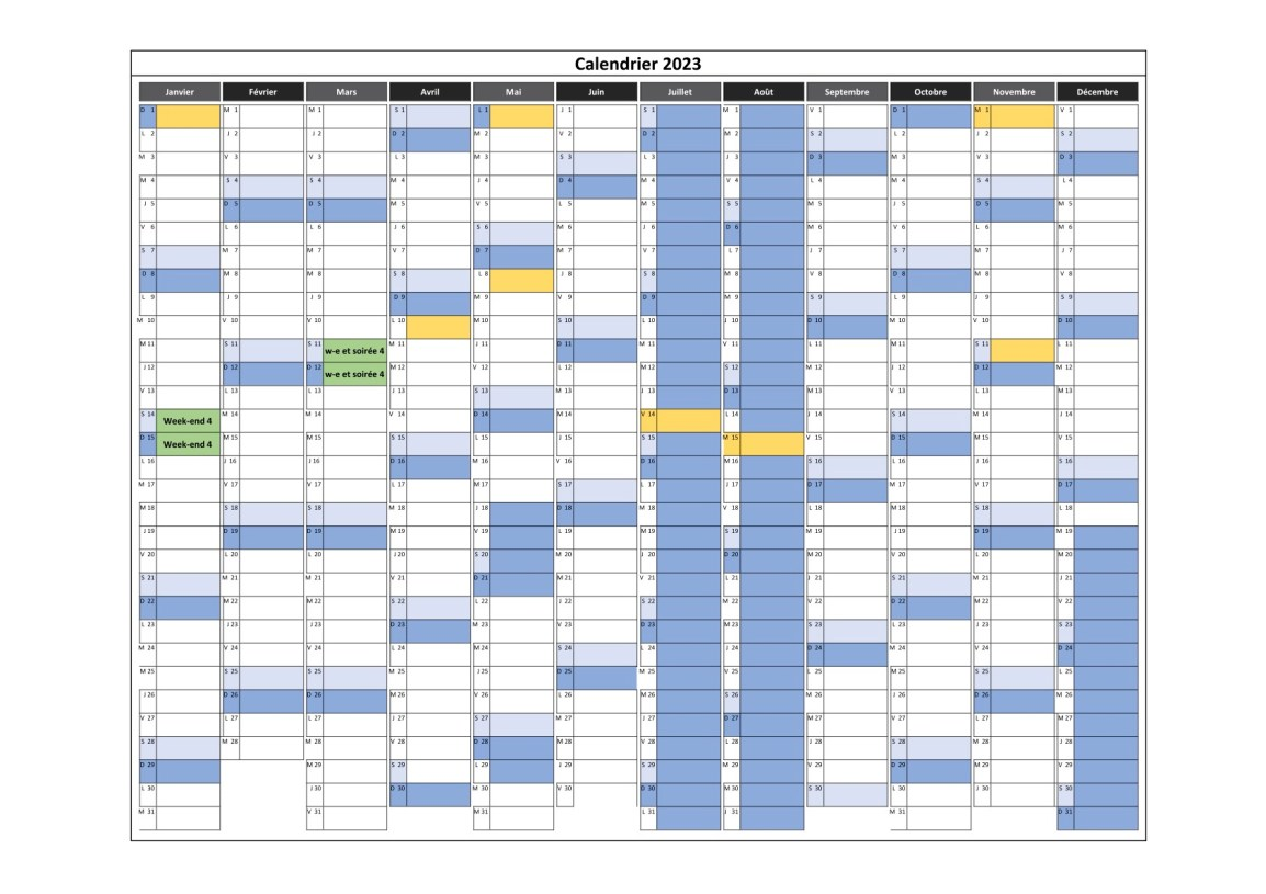 calendrier des cours en weekend 4 pour 2023