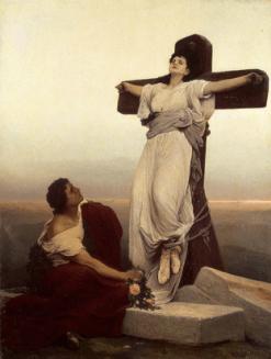 "FIGURA 98 - Pintura ""Christian Martyr (St. Julia) on the Cross"", de Gabriel Max (1865)"
