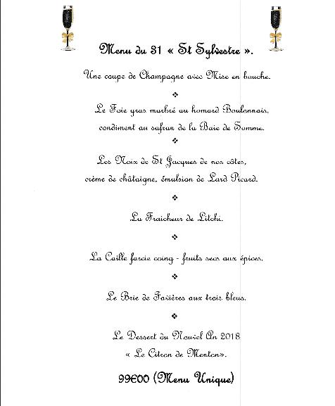 menu 31 décembre 2018 la clef des champs Favières