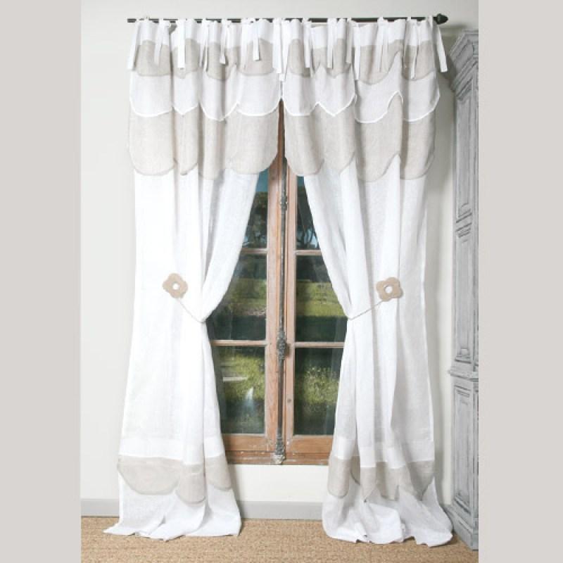 rideau paquerette lin blanc