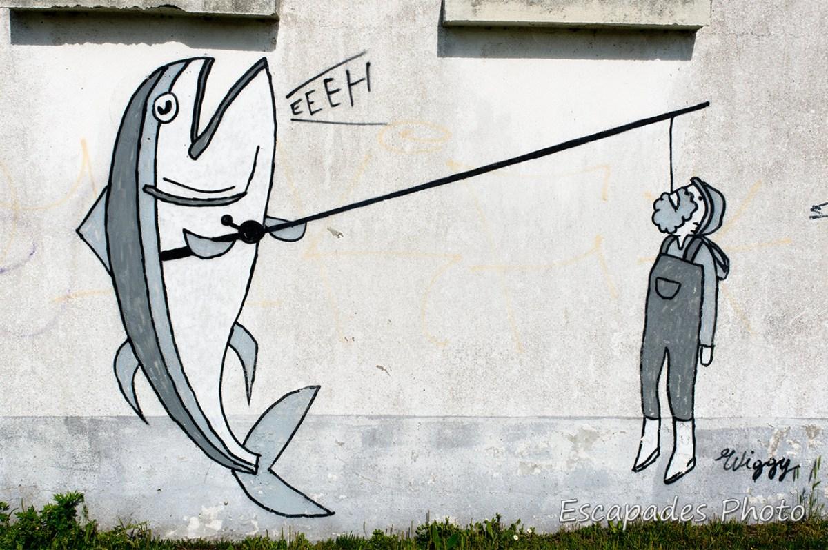 street art à Audierne - Pêcheur péché -