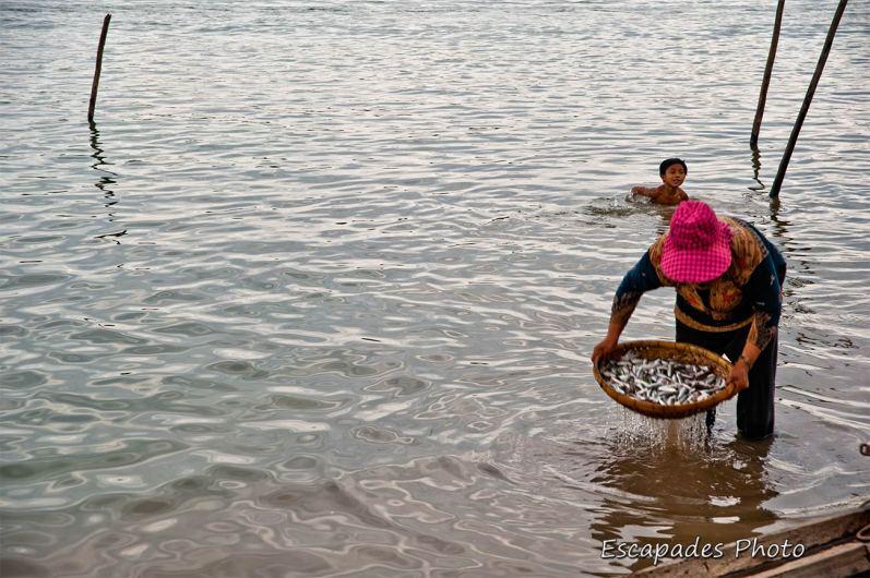 Mekong - Kampong Cham - retour de pêche