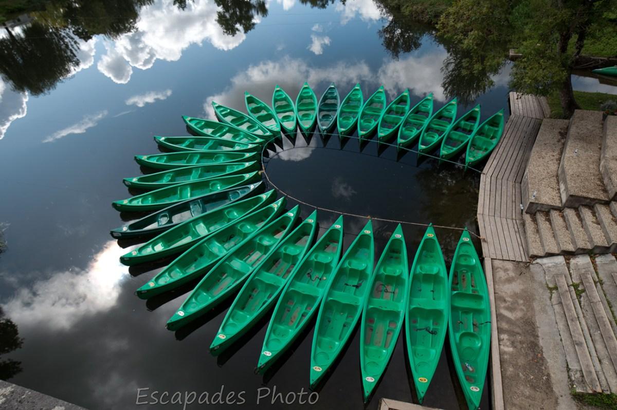 kayaks sur la Dronne à Aubeterre
