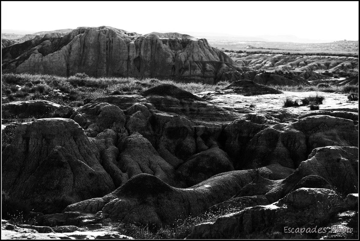 Bardenas Blanca Baja -Reliefs en noir et blanc