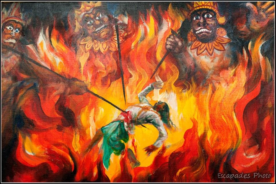 Eventrement : L'enfer bouddhiste - représentation murale dans un temple de Sagaing