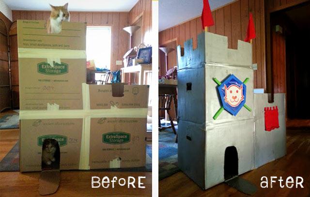woman builds cardboard castle