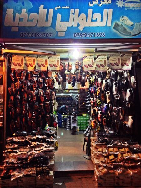 A shop dedicated to the infamous na'al/shibshib/slipper. Slippers are an Arab's best friend [downtown Amman, Jordan].