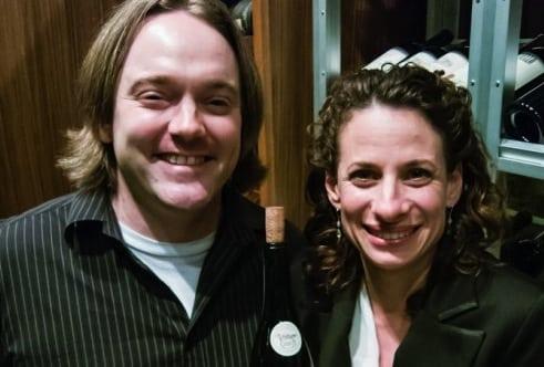 ryan tedder with grace restaurant wine director jenny kornblum