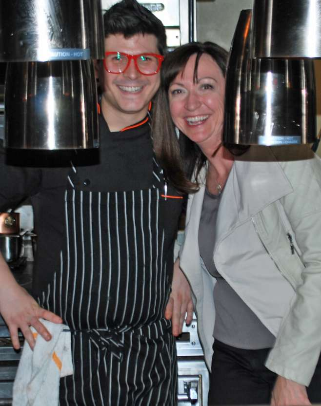 SER exec chef Anthony Van Camp in the kitchen with the Hatch's Rebecca Marmaduke