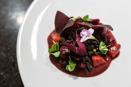 beets, strawberries and blood sausage