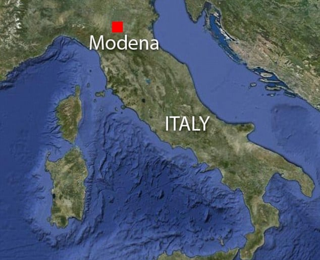 Locator map showing Modena, Italy, the site of an earthquake this morning