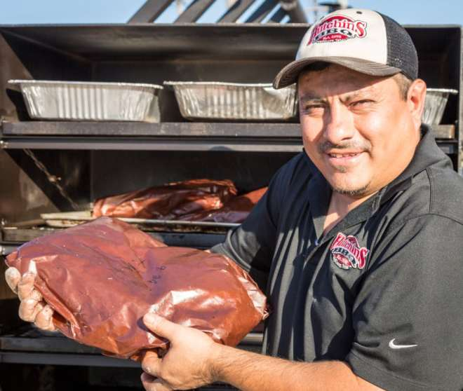 Lead pit master from Hutchins BBQ at pitmasters bbq at slow bone for cafe momentum copyright Michael Hiller-15
