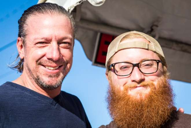 Jeff Bergus and Travis Heim at pitmasters bbq at slow bone for cafe momentum copyright Michael Hiller-7