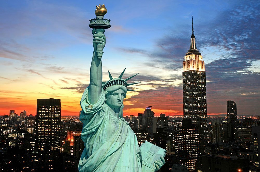 The Statue of Liberty and New York City Skyline