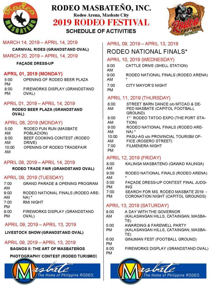 Rodeo Masbateño Festival 2019 Schedule of Events and Activities