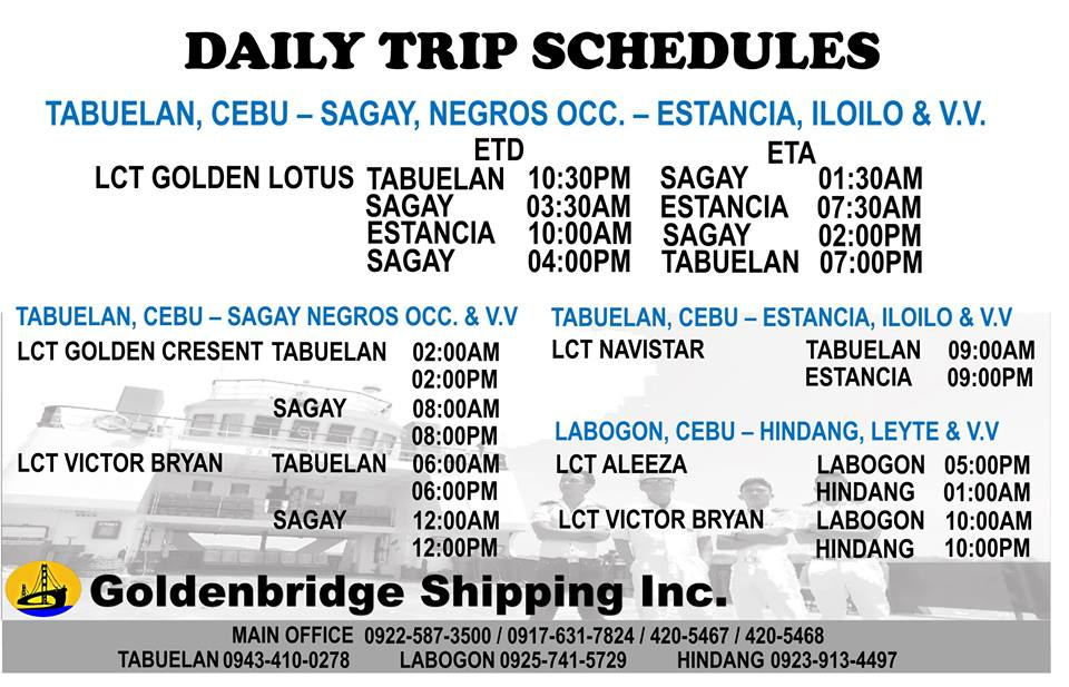 Tabuelan to Sagay Boat Schedule and Fare Rates