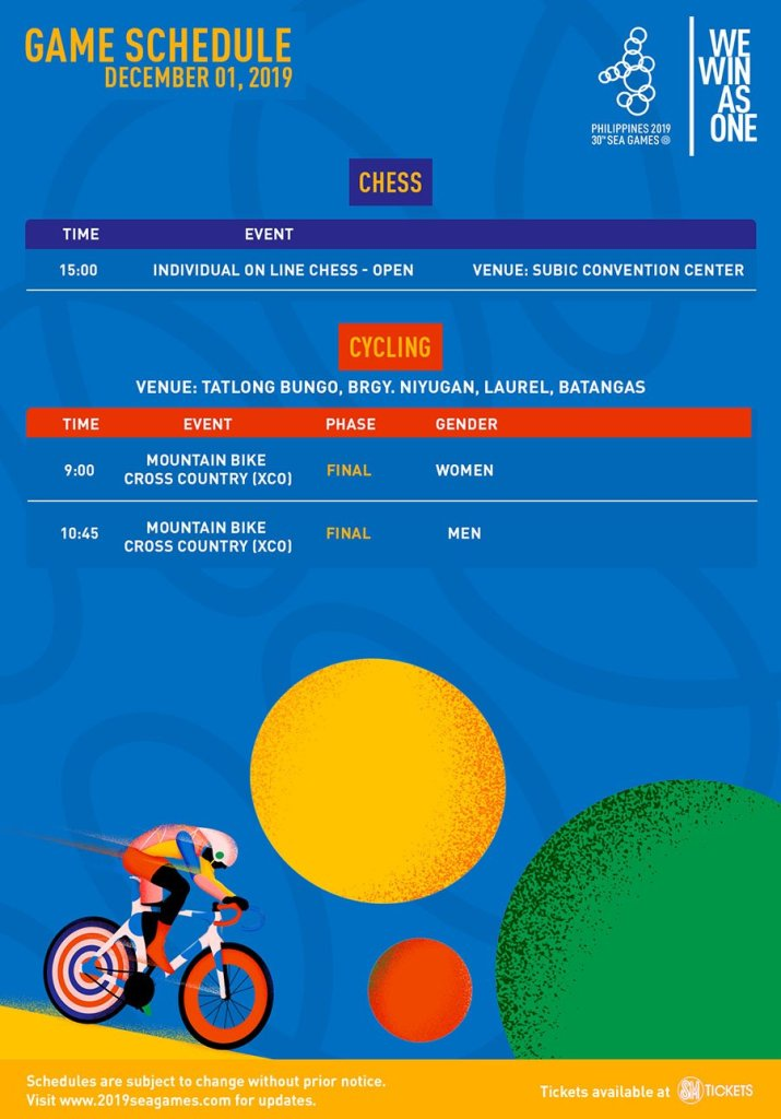 SEA Games 2019: Schedule of Sporting Events [December 1]
