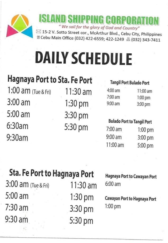 Island Shipping Ferry Schedule between Hagnaya Port and Cawayan Port