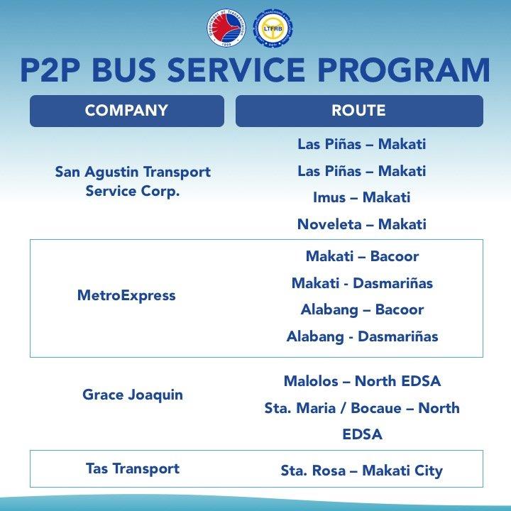 P2P Bus Schedule Around Metro Manila Under GCQ