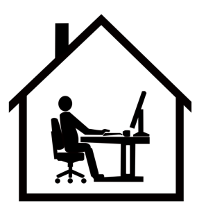 icon of person at desk inside a home
